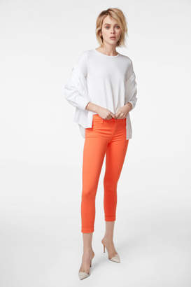 J Brand Anja Mid-Rise Cuffed Skinny Crop In Passionfruit