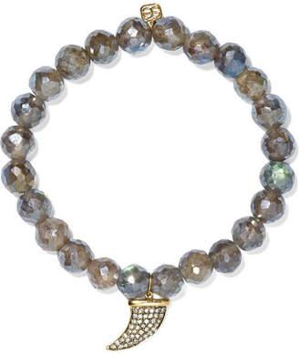 Sydney Evan Horn Labradorite, Diamond And 14-karat Gold Bracelet