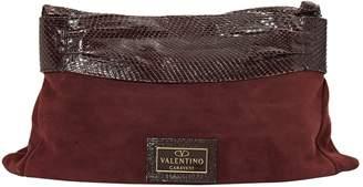 Valentino Burgundy Suede Clutch Bag