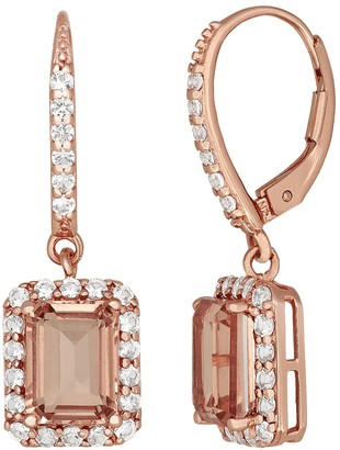 14k Rose Gold Over Silver Peach Quartz & Lab-Created White Sapphire Drop Earrings
