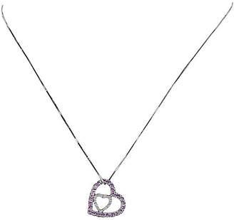 One Kings Lane Vintage Double Heart Necklace Pink Topaz Diamond