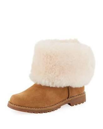 UGG Nessa Suede Boots w/ Exposed Sheepskin Shaft, Kids