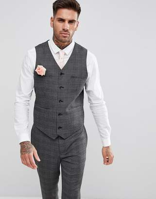 Asos DESIGN Wedding Skinny Vest In Monochrome Micro Check