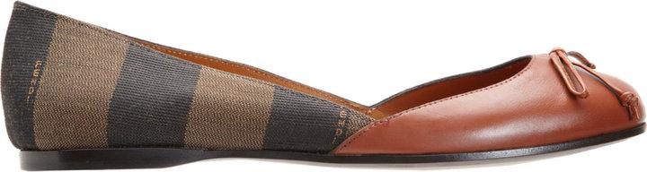 Fendi Pequin Stripe Ballet Flat