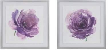 Wayfair 'Purple Ladies Rose' 2 Piece Framed Watercolor Painting Print Set on Paper