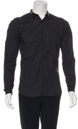 The Kooples Leather-Trimmed Polka Dot Shirt