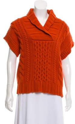 Barneys New York Barney's New York Cable Knit Short Sleeve Sweater