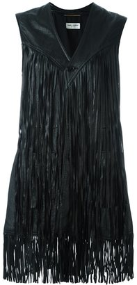Saint Laurent fringed leather waistcoat jacket $4,590 thestylecure.com