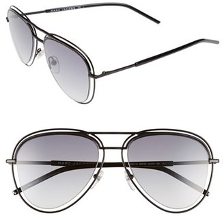 Women's Marc Jacobs 54Mm Aviator Sunglasses - Shiny Black $200 thestylecure.com