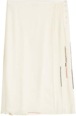 Carven Pleated Silk Georgette Skirt