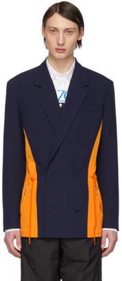 Kenzo Blue and Orange Colorblocked Dual Material Blazer