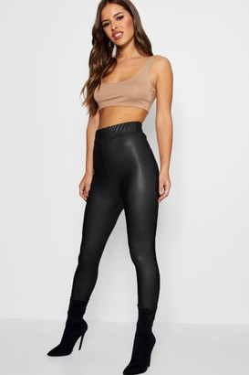 boohoo Petite Matte Leather High Waist Leggings