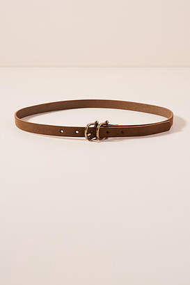 Anthropologie Double Buckle Thin Leather Belt