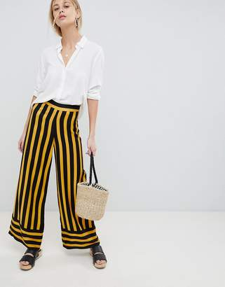 Bumble Bee ASOS DESIGN tailored bumblebee stripe soft wide leg