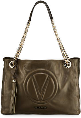 Mario Valentino Valentino By Verra Leather Quilted-Logo Shoulder Tote Bag
