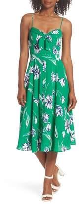 Eliza J Tie Front Fit & Flare Midi Dress