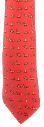 Hermes Animal Motif Silk Tie