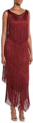 Chiara Boni Casilda Tiered-Fringe Column Dress