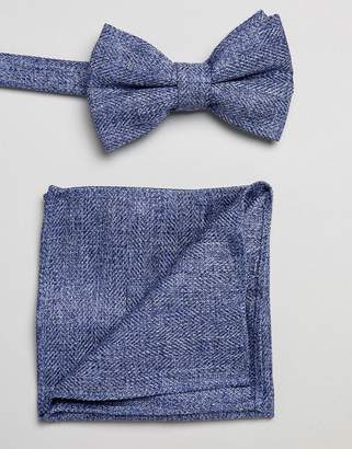 Asos DESIGN textured bow tie and pocket square pack in blue