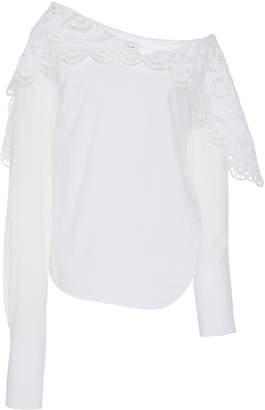 Monse Louise Lace Folded Collar Shirt