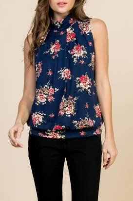 3bb03b14b01d Riah Fashion Floral-Print-Mock-Neck Pleated-Sleeveless-Top