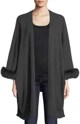 Neiman Marcus Luxury Cashmere Kimono Cardigan w\/ Fur Cuffs