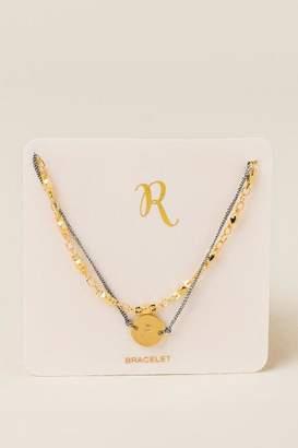 francesca's R Initial Coin Pull Tie Bracelet - Gold