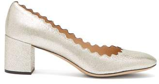 Chloé Lauren Scalloped Edge Leather Pumps - Womens - Light Gold