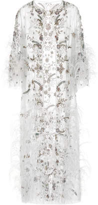 Marchesa Ostrich Feather Embroidered Tea Length Jacket