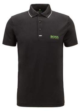 BOSS Hugo Slim-fit polo shirt in moisture-wicking stretch fabric L Black
