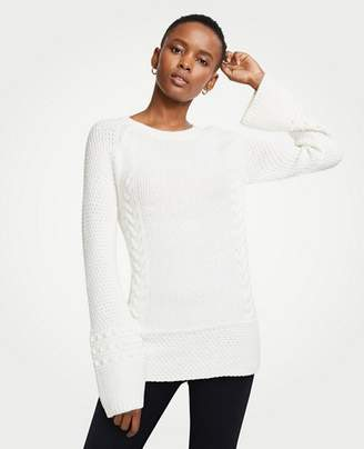 Ann Taylor Petite Crew Neck Cable Knit Sweater