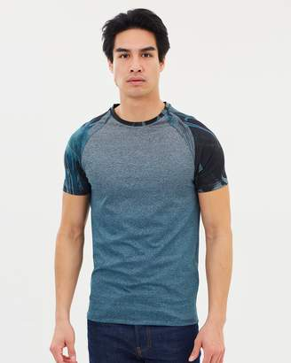 Dip Dye Floral Muscle Fit Raglan T-Shirt