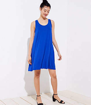 LOFT Petite Mixed Media Sleeveless Swing Dress