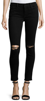 DL1961 Premium Denim Margaux Instasculpt Skinny Ankle Jeans with Ripped Knees, Rattlesnake $198 thestylecure.com