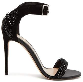 Alexander McQueen Crystal Embellished Suede Sandals - Womens - Black