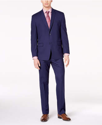 Andrew Marc Men's Classic-Fit Stretch Dark Blue Pinstripe Suit