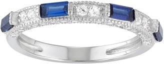 Sterling Silver Lab-Created White & Blue Sapphire Anniversary Ring