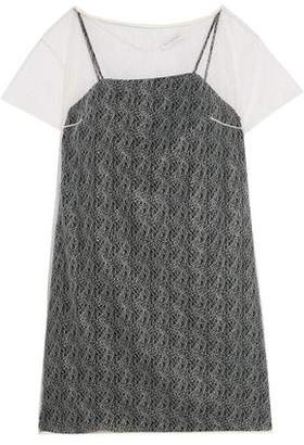 Vionnet Layered Silk Leavers Lace Top