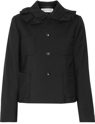 Comme des Garçons GIRL - Ruffled Wool-crepe Jacket - Black $970 thestylecure.com