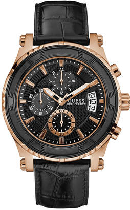 GUESS Men's Chronograph Pinnacle Black Leather Strap Watch 46mm U0673G5