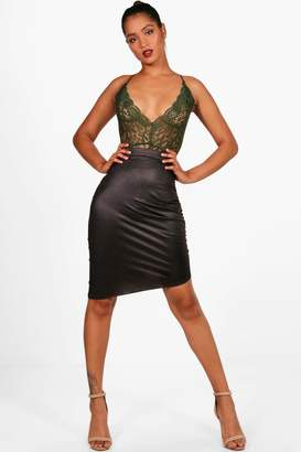 boohoo Rouched Side Wet Look Midi Skirt