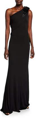 Badgley Mischka Grecian One-Shoulder Column Gown