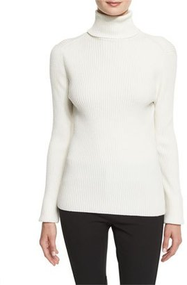 3.1 Phillip Lim Long-Sleeve Ribbed Turtleneck Sweater, Antique White $325 thestylecure.com