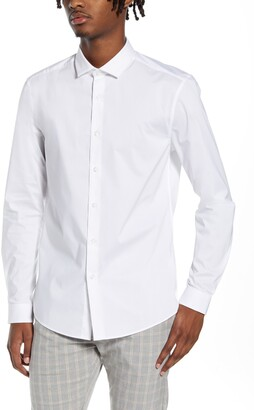 Topman Stretch Form Flow White Button-Up Shirt