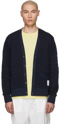 Thom Browne Navy Pique 4-Bar Cardigan