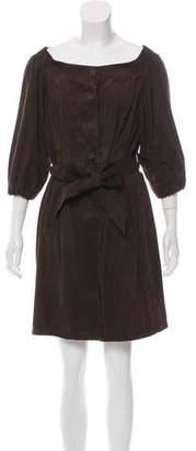 Prada Button-Up Suede Dress