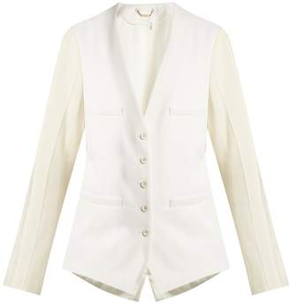 Chloé Collarless wool-blend single-breasted jacket