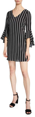 Laundry by Shelli Segal Striped Short Bell-Sleeve Dress