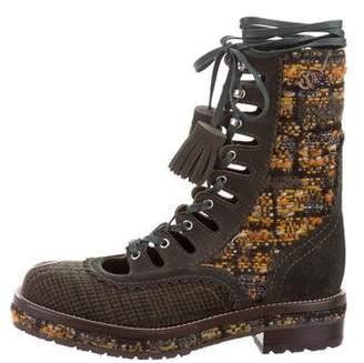 Chanel Tweed Combat Boots