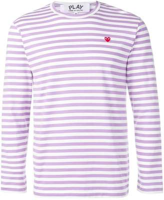 Comme des Garcons heart patch striped sweatshirt